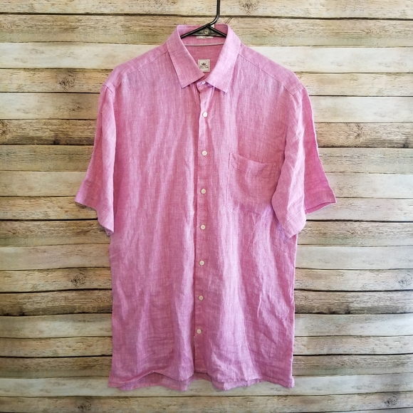 Peter Millar Other - Peter Millar Pink SS Linen Button Up Sz Medium EUC